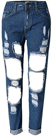 SMITHROAD Jeans Damen straight locker ripped löcher Skinny Stretch Jeanshose,Dunkelblau 46