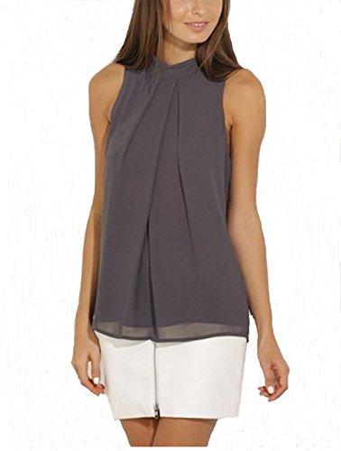 ASCHOEN Damen Shirt Ärmellos Oberteil Elegant Tops T-Shirt Casual Bluse Chiffon (Shirt Chiffon Top)