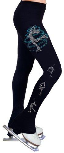 ny2 Sportswear Eiskunstlauf Praxis Hose mit Strass R248, Damen Mädchen, schwarz, Adult Extra Small (Kind Eiskunstlauf Hose)