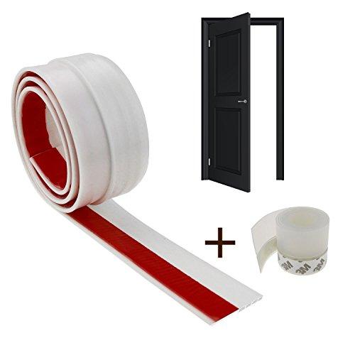 Philonext Tira de sello de la puerta  sellado de goma de silicona tapa de la parte inferior de la puerta y lados Sello de la puerta de desmontaje Sellador de sellado del tapón de drenaje Sello   Blanc