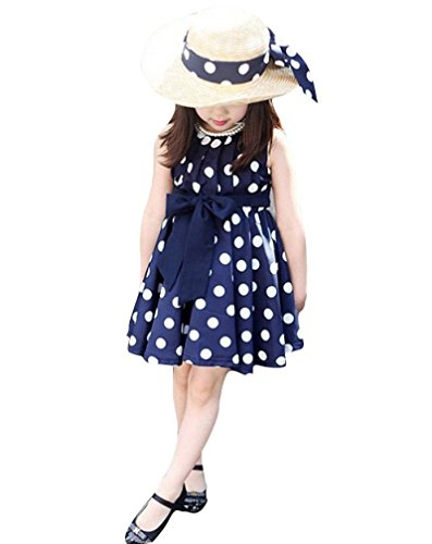 Transer 1 STÜCK Kinder Kinder Kleidung Polka Dot Mädchen Chiffon Sundress Kleid (M, BU)