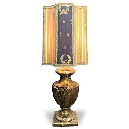 Coppia di lampade da tavolo antiche in legno dorato a mecca - Lampade da tavolo in legno ...