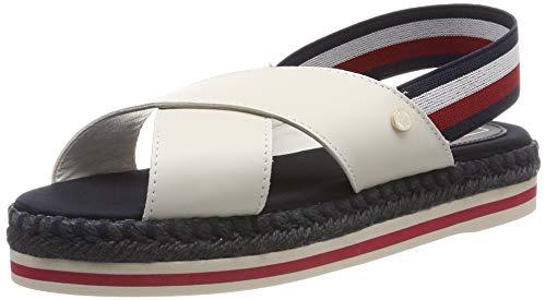 Tommy Hilfiger Colorful Rope Flat Sandal, Chanclas para Mujer, Blanco Whisper White 121, 38 EU