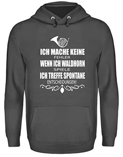 Waldhorn Tshirt Musiker Orchester Horn Blechblasinstrument Musik Waldhornist Geschenke - Unisex Kapuzenpullover Hoodie -XL-Stahlgrau