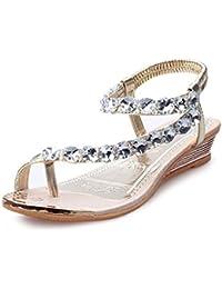 5944c6d20caea LONUPAZZ Tongs Sandales Femme Été Loisirs Wedges Sandales Plateforme  Compensées Strass Chaussures