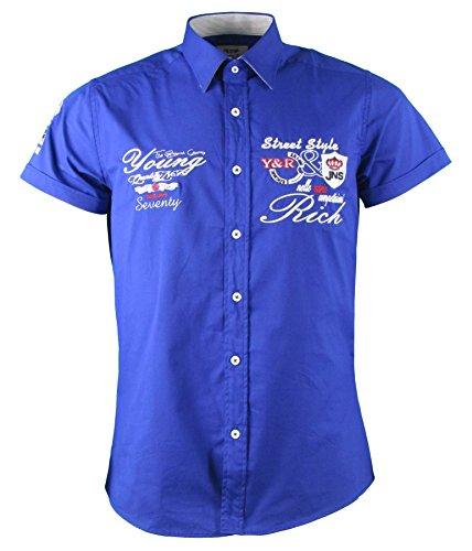 Young&Rich Kurzarm Hemd - Freizeithemd - körperbetont - mit Stickapplikationen (4XL, Sax Blau)