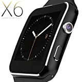 Smartwatch Android, Smart Watch con SIM Card Slot Fotocamera Orologio Fitness Sport, Cardiofrequenzimetro da Polso Contapassi Braccialetto Pedometro Smart Watch per Samsung Galaxy A6, A6 + Plus NERO