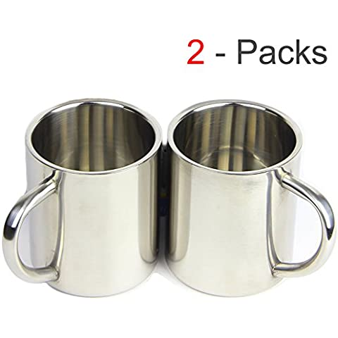 ackmond Kids Agua Taza Vasos de acero inoxidable para los niños doble pared de alimentos grado durable Safe–Pack de 2