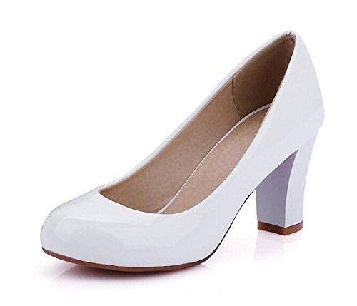 PBXP Pumps Büros Chunky Mid Heel Runde-toe Frauen Casual Hochzeit Elegante Schuhe Aprikose Weiß Rot Schwarz Europa Größe Innerhalb Biger Größe 31-47 White