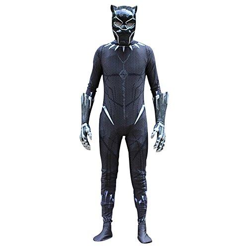 (BLOIBFS The Avengers 3 Schwarze Panther Kopfbedeckungen Einteilige Kostüme Strumpfhosen Cos,Fullset-S)