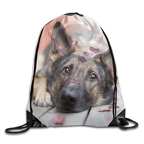 Gorgeous ornaments Dog Animals Closeup Leaves Brown Eyes German Shepherd Wooden Surface Sad of Field Kawaii Girl Unisex Outdoor Rucksack Shoulder Bag Travel Drawstring Backpack Bag -