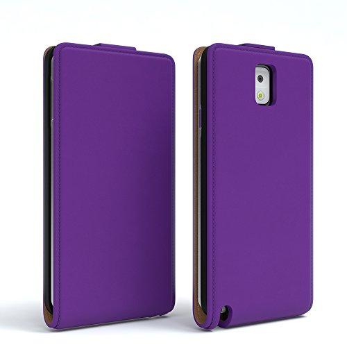 Samsung Galaxy Note 3 Hülle - EAZY CASE Premium Flip Case Handyhülle - Schutzhülle aus Leder zum Aufklappen in Schwarz Lila