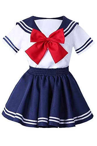 Schuluniform Halloween Kostüm - Tollstore Mädchen Japanisch Kurzarm Schuluniform Sailor Uniform Halloween Karneval Matrosenanzug Cosplay Kostüm S