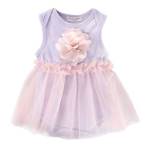 Sanlutoz Nouveau née Bébé Filles Bodysuit Barboteuse Tenues d'été d'anniversaire Jumpsuit fleurs Les vêtements (18-24 mois, YR1209)