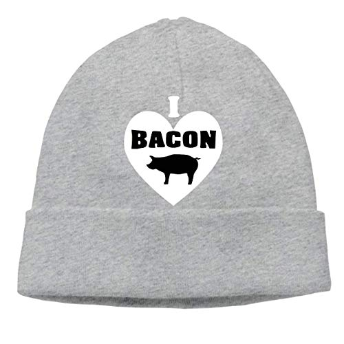 I Love Bacon Warm Stretchy Solid Daily Skull Cap Knit Wool Beanie Hat Outdoor Winter Fashion Warm Beanie Hat