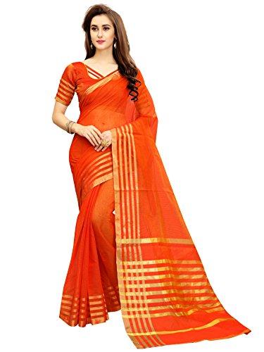 Glory Sarees Silk Saree with Blouse Piece (jari123orange_Free Size)