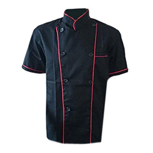 Erwachsene Männer Jungen Baumwolle Arbeitsanzug Arbeitsoveralls Kitchen Koch Kochen Ober Kellner Kellnerin Arbeit Kleidung Anzug Uniform kurzärmelig schwarz roter Rand L (Kochen, Kleidung)