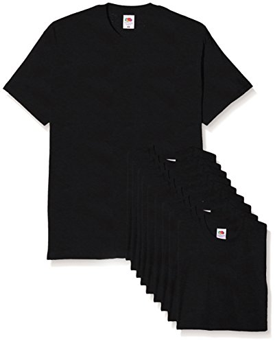 Fruit of the Loom Herren T-Shirt, 10er Pack Schwarz (Schwarz)