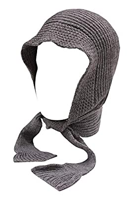 Romano Women's Winter Grey Wool Cap With Scarf Attached