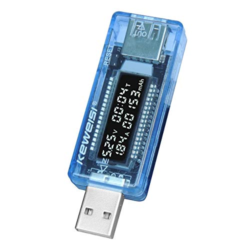 HONGIRT Mini Portatile LCD da 0,91 Pollici capacità del Caricatore USB capacità del misuratore di Tensione rilevatore di Tensione di Corrente (Colore: Azzurro)