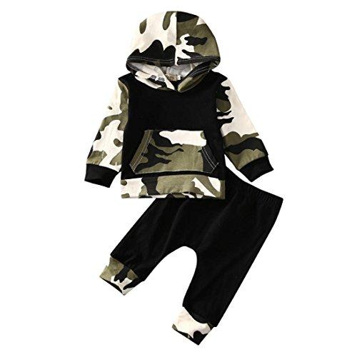 FNKDOR Kleinkind Infant Baby Jungen Kleidung Outfits Set Camouflage Kaputzenpulli + Hosen(18-24 Monate,Mehrfarbig) (Schlaf-hose Feste Baumwolle)