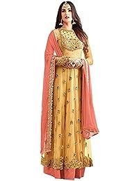 KFHub Women's Net Semi Stitched Embroidered And Hand Work Anarkali Salwar Suit Dupatta(Free-Size_Beige_Grey_Orange_Pink_Yellow_Maskeen)