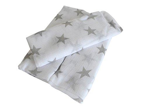 Produktbild 3er Pack Mullwindeln ~ Sterne grau ~ Spucktuch Tücher Baby Tuch Windeln