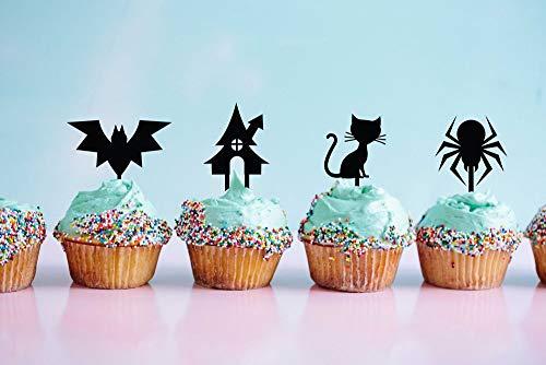Cupcake-Topper, Katzenkuchendekoration, Halloween, Halloween, Party-Ideen, Halloween, Halloween, Fledermaus, Zombie-Kuchenaufsatz
