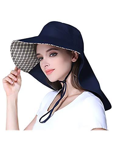 WANYING Unisex UV Schutz Sonnenhut mit 25cm Nackenschutz 11cm Großer Krempe Hut für Outdoor Aktivitäten Safari Angeln Camping Gartenarbeit - für Kopfumfang 56-60cm Dunkelblau