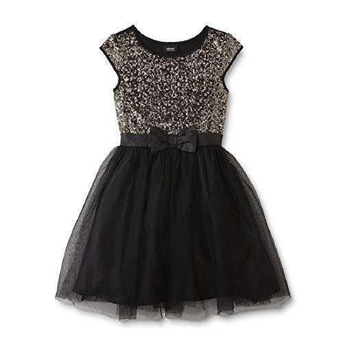 SOFYANA Baby - Girl's Sequinned Dress Birthday Party Wear Frock_Gold & Black Frock_039_1-2 Years Kidswear
