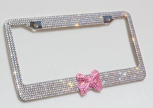 Carfond 7 Row Bling Bling Rhinestones Stainless Steel License Plate Frame With HOT Pink Bow Tie Bonus 2 Screws & 2 Caps (White/Pink Bowtie) by Carfond