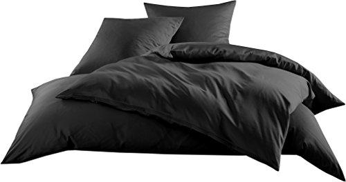 Mako-Satin Baumwollsatin Bettbezug Uni einfarbig zum Kombinieren (Bettbezug 135 cm x 200 cm, Schwarz) (Satin Schwarz)