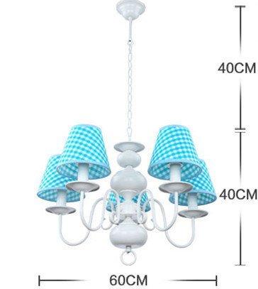 Neue Kronleuchter einfachen Tuch schöne Beleuchtung Rauch blaue LED Junge Doppellampenschlafzimmerlampe hängen - 6
