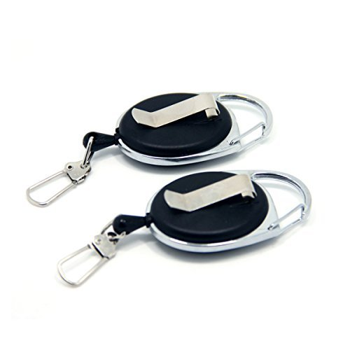 samsfx Retractable Reel Clip für Schlüssel Kette ID Badge Holder Büro oder Outdoor Angeln 2verpackt, Black-A138 (Knot Nail Tool)