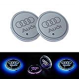 Lispeed Lot de 2 Coussinets de Protection pour Voiture LED 7 Couleurs Changing USB Charging Mats Bottle Coasters Car Atmosphere Für Audi