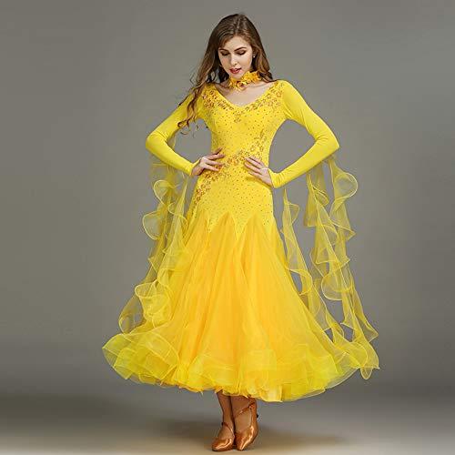 (Liu Sensen Moderne Mode 2018 Dance Kleid Gelbe Organza Latin Bauchtanz Rock Stickerei Farbe Diamond Professional Tänzer Kostüm Große Größe XL 2XL,S)