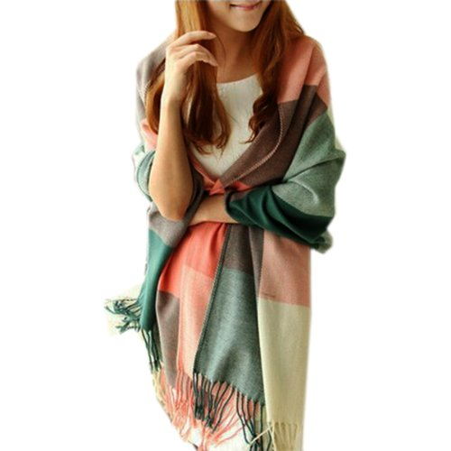 Multicolored-Checked-Scarves-Wraps-Wool-Spinning-Tassel-Shawl-Scarf-Wrap-Long-Pashmina-Stole