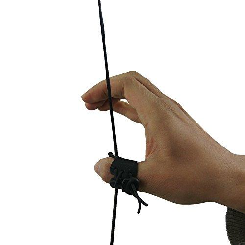 2pcs tiro con arco dedo Tab dedo anillo para pulgar pantalla arco de caza mano guante piel accesorios, marrón