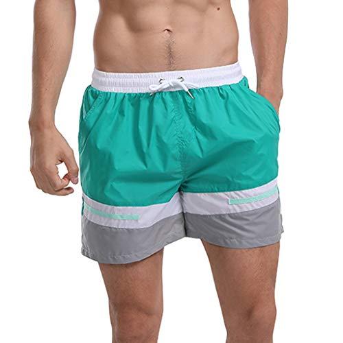 Petite Boxer-pant (GreatestPAK Herren schnell trocknend Badehose geschnallt Hawaii Sporthose Freizeitshorts Badebekleidung Surf Boxershorts,Grün,EU:XS(Tag:M))