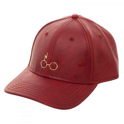 Bioworld - Harry Potter - Minimalista, Dorado, ícono metálico de relámpagos y Gafas - Gorra de Beisbol de Cuero Rojo Poliuretano