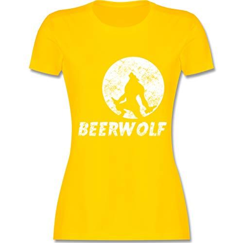 Statement Shirts - Beerwolf - L - Gelb - L191 - Damen Tshirt und Frauen T-Shirt