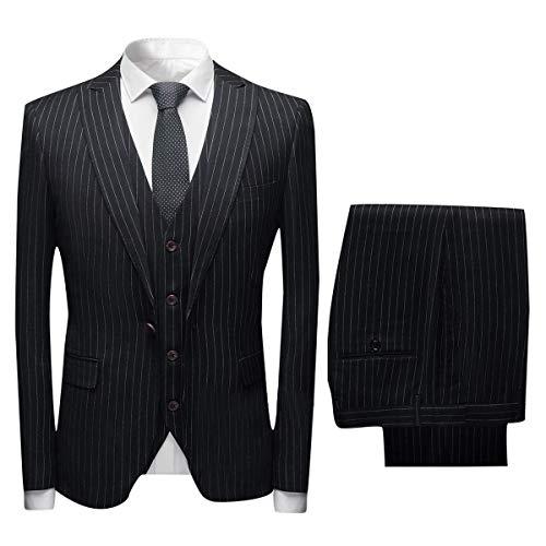YZHEN Herren Anzug Streifen (Jacke Weste Hose) Party Smoking -