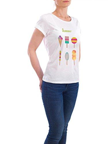 """Design T-Shirt Frauen Earth Positive """"Summer ice"""" - stylisches Shirt Typografie Essen & Trinken von Mia Nissen Weiß"""
