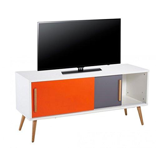 ACTUAL DIFFUSION Vintage Meuble TV Bois Blanc 40 x 120 x 55 cm
