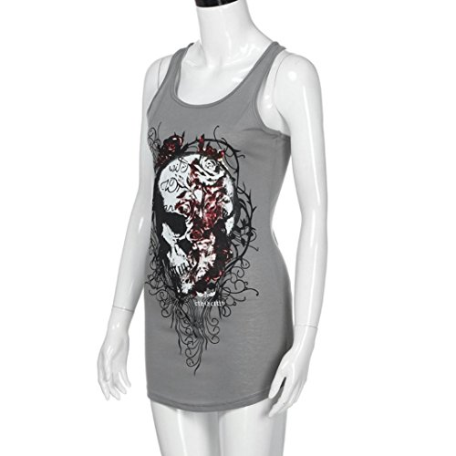 LONUPAZZ Summer Vest Top Femmes Skull Squelette Imprimer Blouse sans Manches Club Party Casual Tee Shirt Gris
