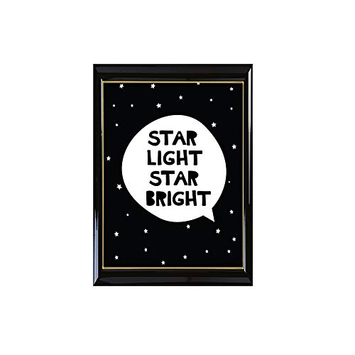 Raybre Art® Star Light Star Bright Black Letter Star Oil Paintings Creative Pictures on Canvas Wall Art for Bedroom Office Decorations
