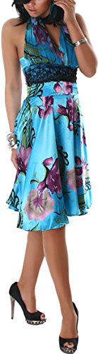 Jela London - Robe - Cocktail - À Fleurs - Sans Manche - Femme Bleu ciel