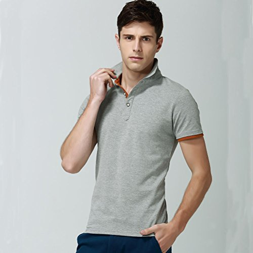 Herren Poloshirt Kurzarm Einfarbig Stehkragen Sommer T-Shirt Fashion Slim Fit Kontrast Polohemd Baumwolle Grau Orange