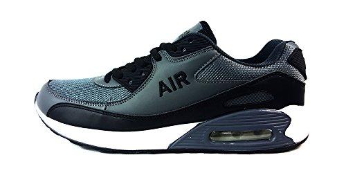Scarpe da corsa, unisex, stile casual, chiusura con i lacci, scarpe sportive per ragazzi, ideali da usare in palestra e per passeggiare, fibra tessile, w/grey/black, uk10 / eur 45