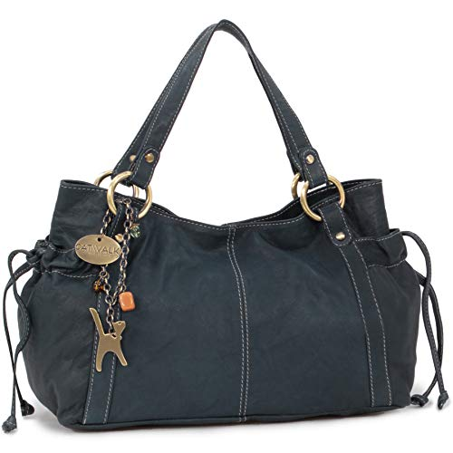 "Borsa in pelle a spalla di Catwalk Collection""Mia"" - Blu"